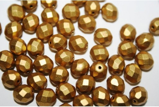 Fire Polished Beads Matte Metallic Aztec Gold 8mm - 25pz