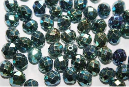 Fire Polished Beads Green 8mm - 25pz