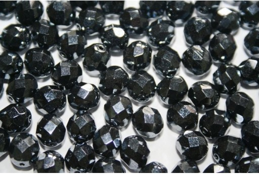 Fire Polished Beads Hematite 8mm - 25pz