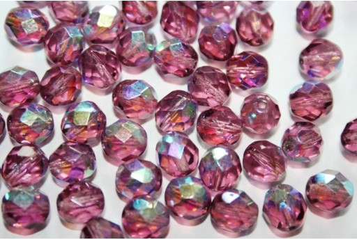 Fire Polished Beads Amethyst AB 8mm - 25pz