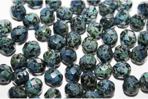 Fire Polished Beads Jet Picasso 8mm - 25pz