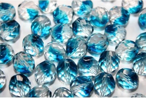 Fire Polished Beads Crystal/Capri Blue 10mm - 15pz