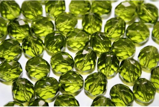 Fire Polished Beads Olivine 10mm - 15pz