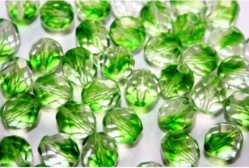 Fire Polished Beads Crystal/Prairie Green 10mm - 15pz