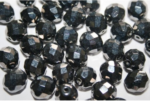 Fire Polished Beads Hematite 10mm - 15pz