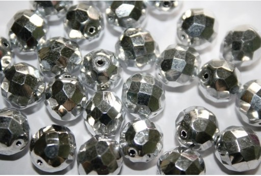 Fire Polished Beads Silver 12mm - 10pz