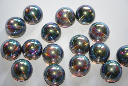 Perline Dome Beads 14X8mm, 10pz., Crystal Graphite Rainbow Col.98537