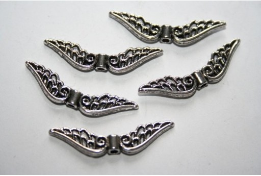 Tibetan Silver Wings Spacer Beads 8X32mm - 10pcs