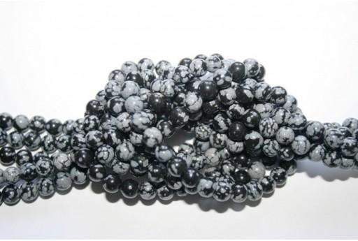 Round Snowflake Obsidian Bead Strand 6mm - 60pcs