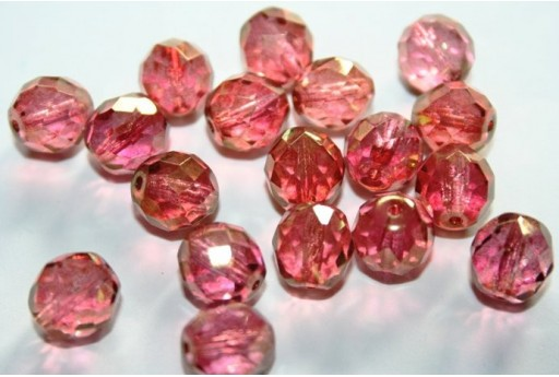 Fire Polished Beads Luster-Pink 10mm - 15pz