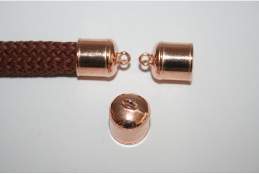 Climbing Rose Gold Cord End Cap 17x14mm - 1pc