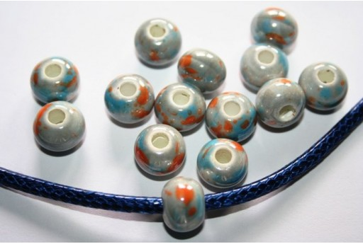 Ceramic Beads Rondelle Fantasy Grey 12x9mm - 3pz