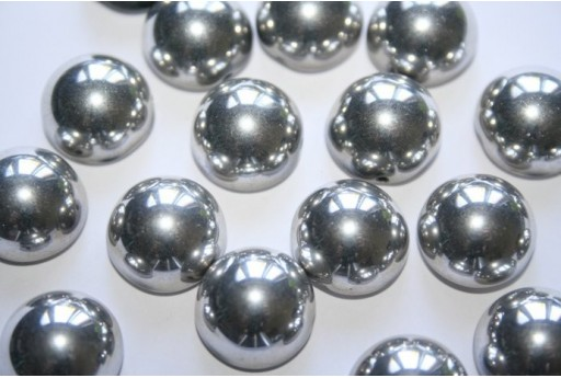Perline Dome Beads 14X8mm, 10pz., Jet Labrador Full Col.27000