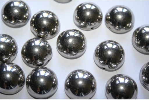 Perline Dome Beads 14X8mm, 10pz., Jet Argentic Full Col.27500