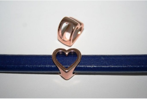 Regaliz Rose Gold Heart Slider Charm Bead 16X16cm, 1pc, MIN171D