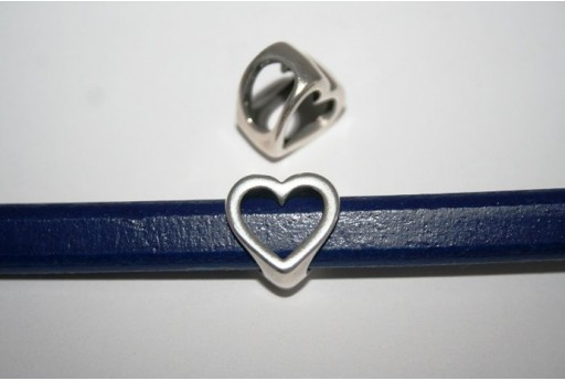 Regaliz Silver Heart Slider Charm Bead 16x16cm, 1pc, MIN179A