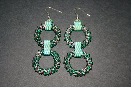 Superduo Rings Emerald Vitrail - Earrings Kit