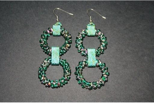Kit Orecchini Cerchi Superduo Emerald Vitrail Cod.OR10A