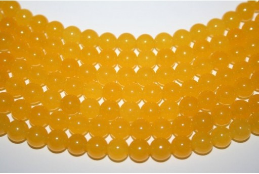 Jade Beads Yellow Sphere 8mm - 48pz