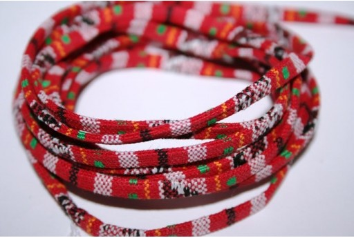 Ethnic Flat Cotton Cord 5mm Red - 1m COR02B
