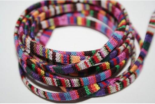 Ethnic Flat Cotton Cord 5mm Multicolour - 1m COR02C
