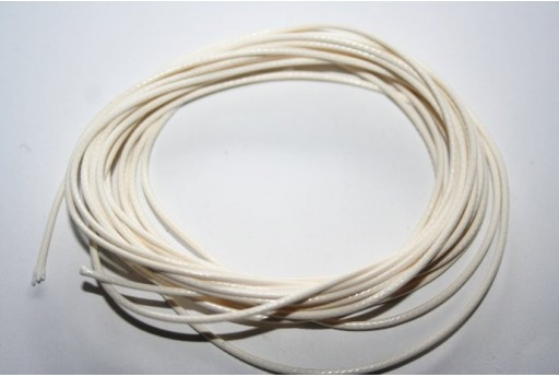 White Waxed Polyester Cord 0,5mm - 12mt