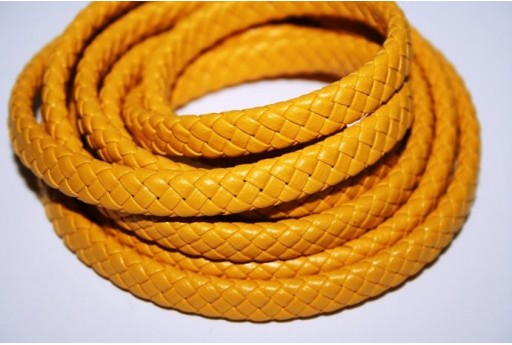 Yellow Faux Leather Braid Cord 9x5mm - 50cm COR04B
