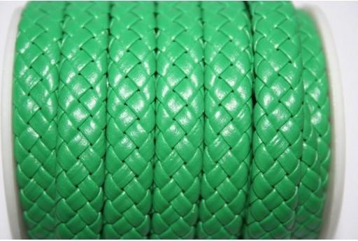 Cuoio Sintetico Intrecciato 9x5mm, Verde 50cm., Cod.COR04C