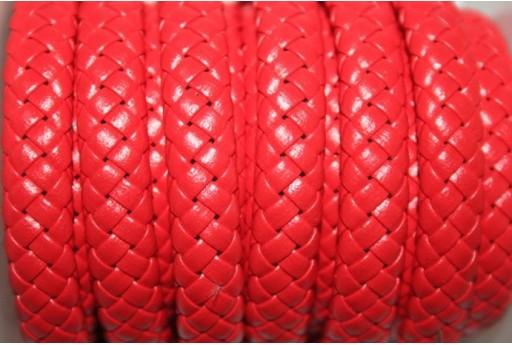 Cuoio Sintetico Intrecciato 9x5mm, Rosso 50cm., Cod.COR04E