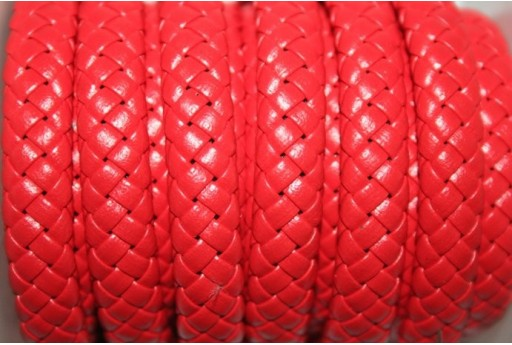 Red Faux Leather Braid Cord 9x5mm - 50cm COR04E