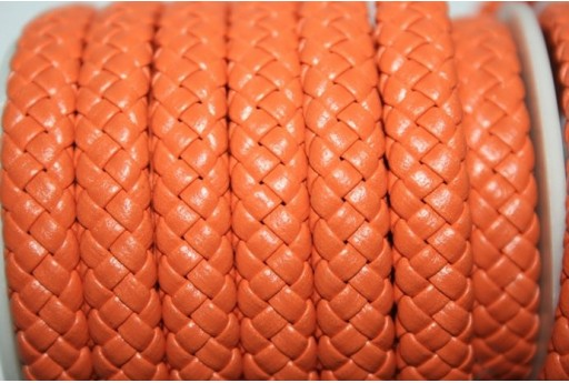 Cuoio Sintetico Intrecciato 9x5mm, Arancio 50cm., Cod.COR04F