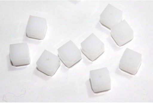 Swarovski Cubes White Alabaster 6mm - 2pcs