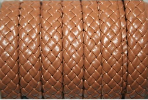 Cuoio Sintetico Intrecciato 9x5mm, Marrone 50cm., Cod.COR04G