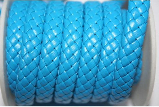 Turquoise Faux Leather Braid Cord 9x5mm - 50cm COR04H