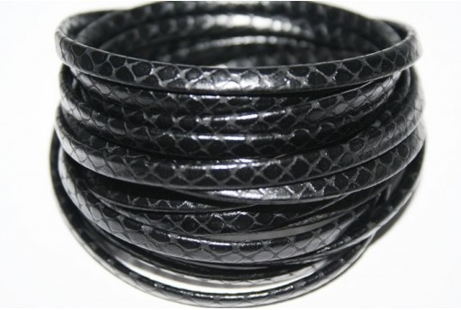 Black Flat Leather Cord 5mm - 50cm COR05A