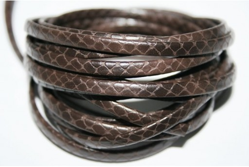 Brown Flat Leather Cord 5mm - 50cm Cod.COR05B