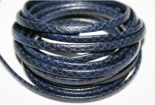 Blue Flat Faux Leather Cord 5mm - 50cm COR05C