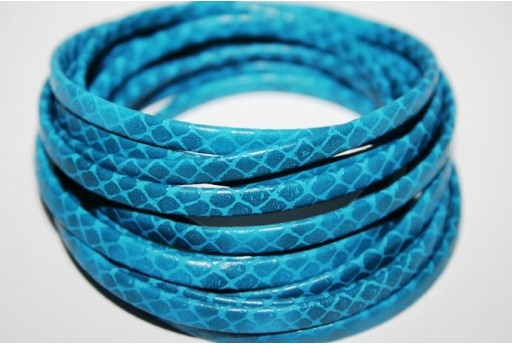 Turquoise Flat Leather Cord 5mm - 50cm COR05D