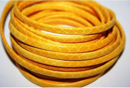 Yellow Flat Leather Cord 5mm - 50cm COR05E