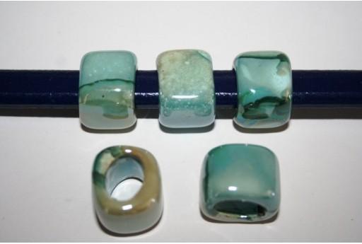 Perline Ceramica Regaliz 18x16mm, Verde 2pz., Cod.CER5B