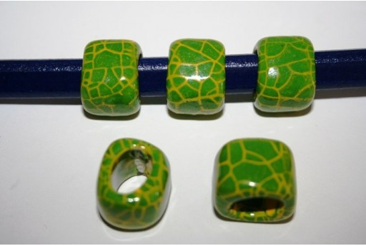 Regaliz Ceramic Slider Beads 18x16mm, Green 2pcs, CER5L