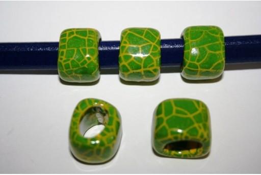 Perline Ceramica Regaliz 18x16mm, Verde 2pz., Cod.CER5L
