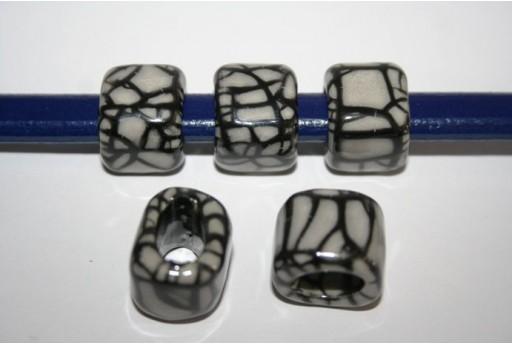 Perline Ceramica Regaliz 18x16mm, Grigio 2pz., Cod.CER5M