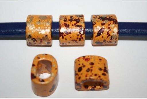 Perline Ceramica Regaliz 18x16mm, Giallo Macchiato 2pz., Cod.CER6H