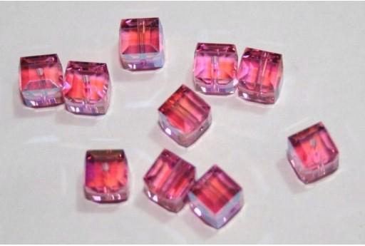 Cubi Swarovski Rose Aurora Boreale 6mm - 2pz