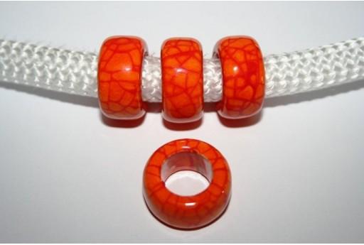 Perlina Climbing Ceramica Arancio 19x10mm - 1pz