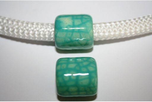 Climbing Ceramic Slider Bead 19X20mm Light Green - 1pc