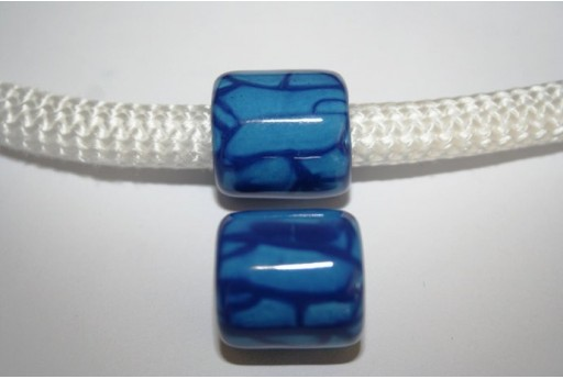 Climbing Ceramic Slider Bead 19X20mm Crack Blue - 1pc