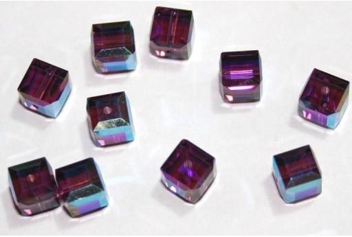 Cubi Swarovski Amethyst Aurora Boreale 6mm - 2pz