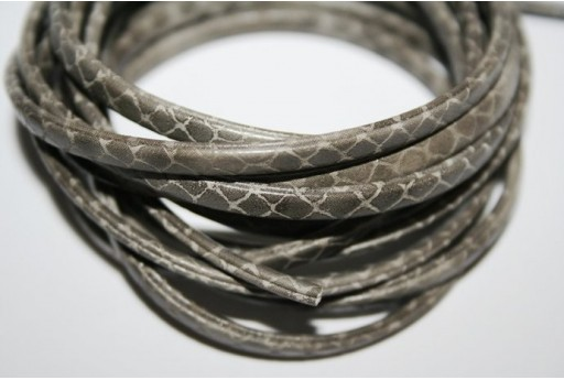 Grey Flat Leather Cord 5mm - 50cm COR05G